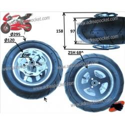Roue arrière complète semi slick 110 / 50 - 6.5 Pocket Bike