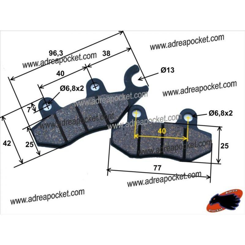 Plaquettes Frein Double Piston à crochet Dirt Bike - ATV - GY6